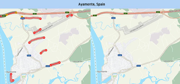 Cartografia stradale di Ayamonte in Spagna
