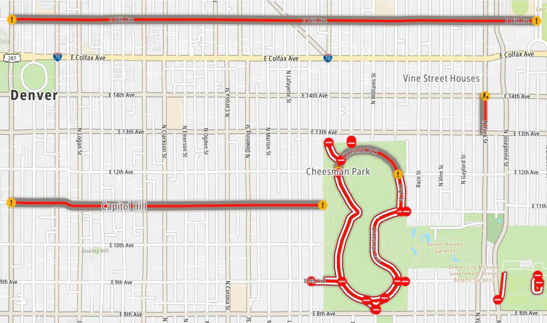 Cartografi stradale con la classificazione di Denver